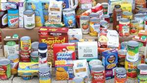 Images of canned and boxed food items.