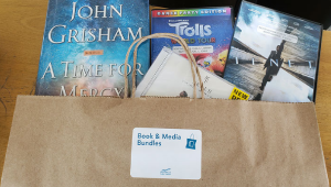 A photo showing a brown paper bag with books and DVDs in it