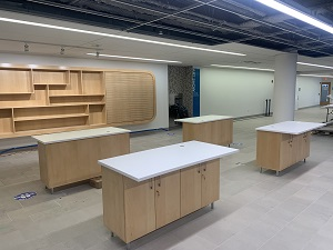 Photo of the new browsable collection and self-checkout machine tables