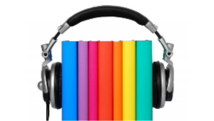 Image of books and headphones