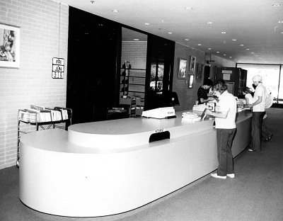 Photo of the Circulation Desk in 1976