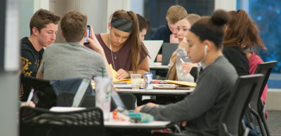 Photo of students studying during Finals Cafe