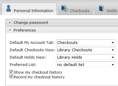 Image of account preferences screen
